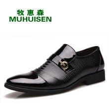 牧惠森新款男士头层牛皮亮面套脚皮鞋韩版时尚商务男鞋 71158