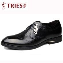才子/TRIES新款男士皮鞋男鞋鞋子休闲鞋商务鞋鳄鱼纹男士商务休闲鞋正装皮鞋CSH03C7713