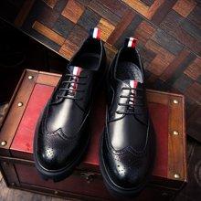 Simier新款布洛克厚底小皮鞋男英伦男鞋增高潮鞋XB3505