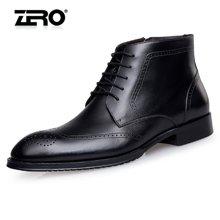 零度尚品皮靴冬季新款雕花潮流男靴尖头英伦风时尚马丁靴F5263
