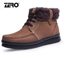 零度尚品男靴冬季新品潮流皮靴男士保暖棉靴高帮鞋英伦风短靴F5286
