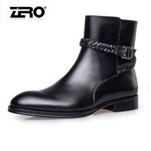 零度尚品皮靴冬季新品时尚英伦风皮靴男士靴F5264