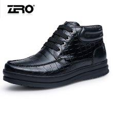 零度尚品男靴冬季新品时尚商务皮靴英伦男士短靴子F5285