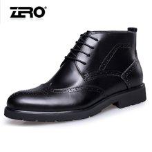 零度尚品男靴冬季新品男士商务高帮鞋布洛克潮流皮靴子男F5290