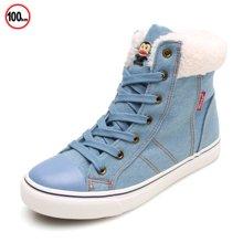 100KM&PF冬新款棉鞋 高帮系带保暖靴男靴 牛仔布短靴KMH602