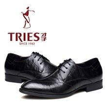 才子TRIES新款男士皮鞋男鞋鞋子休闲鞋商务鞋头层牛皮系带商务鞋休闲鞋 H30C1686