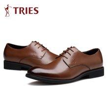 才子TRIES新款男士皮鞋男鞋鞋子休闲鞋商务鞋流行男鞋尖头商务休闲鞋H35C0185
