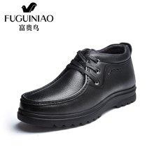 富贵鸟(FUGUINIAO)富贵鸟男鞋男士2016新款冬季男鞋英伦系带商务休闲皮鞋子 D606768R