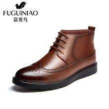 富贵鸟(FUGUINIAO)富贵鸟短靴男鞋高帮鞋棉靴男士布洛克雕花休闲鞋 D603503C