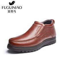 富贵鸟(FUGUINIAO)加绒棉鞋男鞋英高帮皮鞋男士商务休闲皮鞋子 D606767R