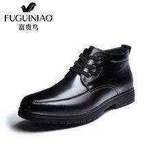 富贵鸟(FUGUINIAO)富贵鸟高帮棉鞋冬季加绒保暖商务休闲皮鞋男鞋子 D620920C