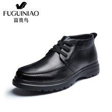 富贵鸟(FUGUINIAO)商务休闲皮鞋棉鞋男士加绒高帮皮鞋男鞋子 D627410C