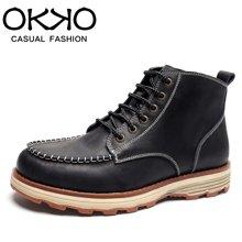 OKKO新款男鞋英伦高帮马丁靴保暖男靴厚底短靴复古工装靴7721