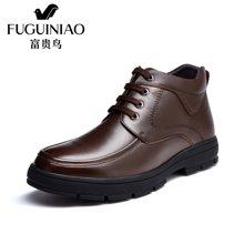 富贵鸟(FUGUINIAO)富贵鸟男鞋冬季加绒棉靴英伦男士休闲短靴子 D697561R