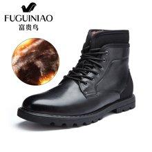 富贵鸟(FUGUINIAO)富贵鸟马丁靴男短靴潮新款冬季加绒军靴男靴子英伦工装靴皮靴 D603731