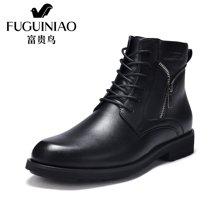 富贵鸟(FUGUINIAO)富贵鸟男靴冬季新款皮靴系带马丁靴加绒保暖棉靴男士休闲鞋子 D650010C