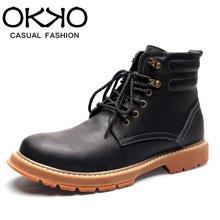 OKKO休闲靴子马丁靴保暖潮英伦冬季男鞋高帮工装靴复古7717