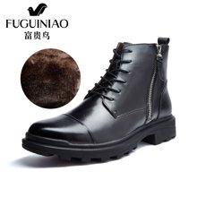 富贵鸟(FUGUINIAO)富贵鸟男靴马丁靴冬季加绒棉靴英伦男休闲短靴皮靴子 D603301