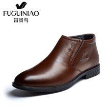 富贵鸟(FUGUINIAO)富贵鸟男鞋冬季加绒棉鞋套脚高帮鞋英伦男士商务休闲皮鞋短靴 D694061R