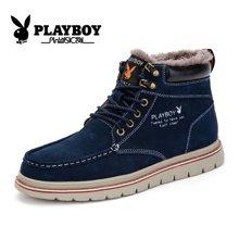 花花公子冬季男士雪地靴短筒靴加绒棉鞋户外休闲防滑雪地鞋高帮鞋CX39151M