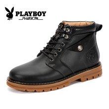 花花公子皮靴马丁靴男牛皮工装靴英伦男士高帮军靴潮流小码皮靴子CX39137