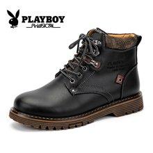 花花公子冬季男鞋马丁靴牛皮工装靴加绒雪地靴高帮保暖棉鞋短靴子CX39139M