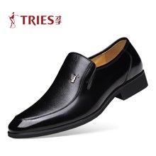才子TRIES新款男士皮鞋男鞋鞋子休闲鞋商务鞋头层牛皮经典套脚商务正装皮鞋办公室鞋H34C069