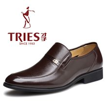 才子TRIES春季男士皮鞋男鞋鞋子休闲鞋商务鞋英伦商务正装鞋男士套脚牛皮鞋H33C068