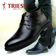 才子TRIES男士皮鞋男鞋鞋子休闲鞋商务鞋商务休闲鞋男士商务正装鞋擦色皮时尚漆皮皮鞋婚鞋H76C3326