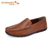 红蜻蜓男凉鞋 夏款男士透气商务休闲套脚镂空皮鞋5961