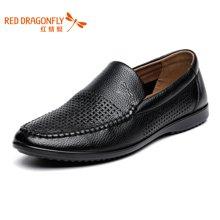 红蜻蜓 正品男士休闲透气鞋套脚镂空皮鞋4353