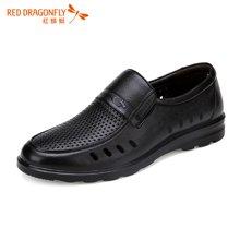 红蜻蜓男凉鞋 男凉鞋 夏季透气日常休闲套脚镂空皮鞋5928