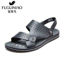 富贵鸟(FUGUINIAO)头层牛皮沙滩鞋 镂空透气时尚两用舒适轻便凉鞋 C683967