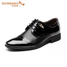 红蜻蜓男鞋 2016夏季新款时尚透气系带商务正装镂空皮鞋 6121