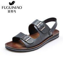 富贵鸟(FUGUINIAO)夏季新品头层牛皮条纹凉鞋 防水耐磨鞋底排汗防臭 舒适透气沙滩鞋 C683966
