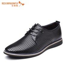 红蜻蜓男鞋2016夏季新款舒适透气商务休闲镂空皮鞋男凉鞋6174