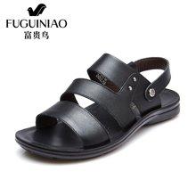富贵鸟(FUGUINIAO)夏季新品时尚头层牛皮舒适透气露趾男凉鞋沙滩鞋男鞋 C684710