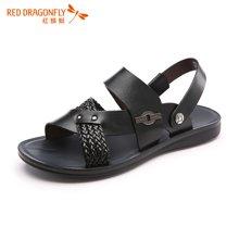 红蜻蜓男鞋 2016夏季新款青年休闲沙滩鞋编织凉拖两用男凉鞋6216