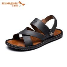 红蜻蜓男鞋 2016夏季新款休闲时尚旋转扣简约沙滩男凉鞋 6118