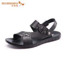红蜻蜓男鞋 2016夏季新款鳄鱼纹防滑金属扣沙滩鞋皮凉鞋 6212