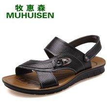 牧惠森新品夏季男士头层牛皮凉鞋沙滩鞋舒适透气休闲男鞋 HM2702
