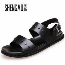 圣高夏季新款厚底凉鞋透气罗马凉鞋时尚增高休闲男鞋铆钉英伦风沙滩鞋 58802