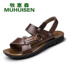 牧惠森新款夏季男士头层牛皮凉鞋沙滩鞋防滑舒适两用凉拖男鞋 7055