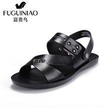 富贵鸟(FUGUINIAO)凉鞋男露趾牛皮沙滩鞋休闲男士凉拖鞋 C794808