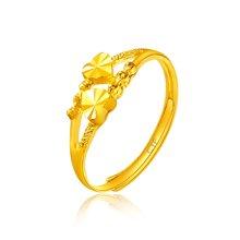 周大福珠宝双行心相对足金黄金戒指(工费:48计价)F156901