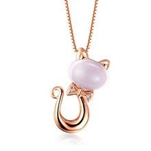 佐卡伊 时尚猫咪 18K玫瑰金芙蓉石宝石镶钻石吊坠项链女珠宝首饰定制
