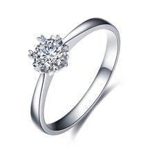 佐卡伊PT950铂金六爪钻戒女钻石结婚求婚戒指白金雪花款珠宝 纯情