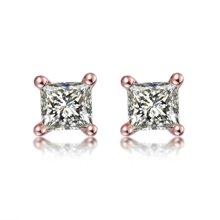 佐卡伊 简约四爪男女同款情侣公主方钻石耳钉玫瑰18k金钻石耳饰