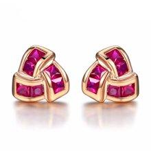 佐卡伊18K玫瑰金红宝石耳钉耳环彩色宝石耳饰女时尚送女友