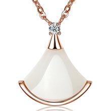 金兴福 小裙子 精致时尚银镶和田白玉项链吊坠